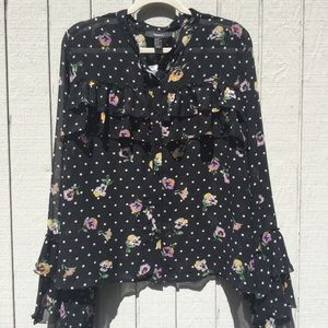 NWT black and white polka dot orchid tunic